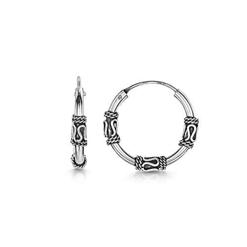 (Amberta Fine 925 Sterling Silver - Circle Endless Bohemian Hoops - Round Sleeper Bali Tribal Earrings - Diameter Size: 20 mm - Zigzag)