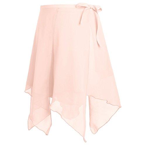 MSemis Womens Asymmetric Chiffon Ballet Dance Wrap Skirt Adult Ladies Skating Over Scarf Tutu Dress Pink One Size