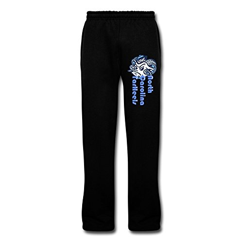 PTTYS Men's North Carolina TarHeels Bottom Fleece Sweatpants Black US Size M,100% Organic Cotton