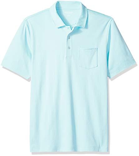 Amazon Essentials Men's Regular-Fit Pocket Jersey Polo, Aqua, X-Small]()