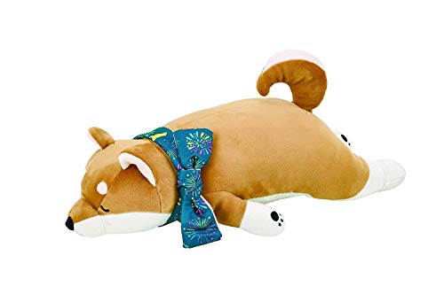 LivHeart Premium NemuNemu Animals Hug Pillow Stuffed Animal Soft Plush Marshmallow Bolster with Cooler for Summer Japan Import W45xD12xH12cm Shiba-Inu Dog 68111-44