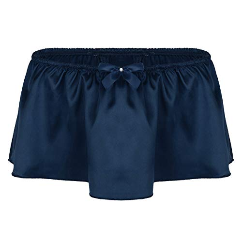 inlzdz Men's Sissy Skirted Lingerie Ruffled Satin G-String Thong Crossdress Panties Underwear Navy Blue Medium(Waist 29.0-53.0