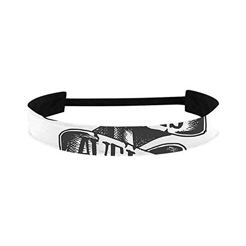 C COABALLA Anchor Simple Sports Headband,Tattoo Style Old Navy Symbol Sketch with Ribbon and Vintage Lettering Insignia Decorative for Sports,15