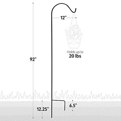"""7Penn Black Shepherds Hook 2pk, 92"""" Inch (Set of 2) Shepherds Hooks for Plant Hanger Bird Feeder Pole Lantern Stand by 7Penn (Image #3)"""