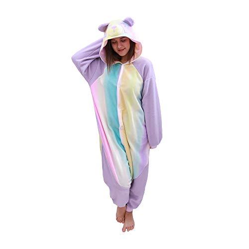 Animal Onesie Panda Pajamas- Plush One Piece Costume (Medium, Yellow Rainbow) -