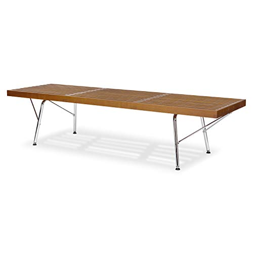 Poly and Bark EM-380-CRM-WAL Slat 5' Bench with Chrome Legs Walnut