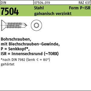 250 Senkkopf Torx Bohrschrauben DIN 7504 verzinkt P 6,3x38 TX