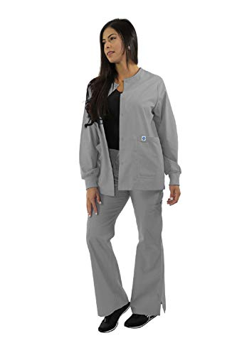 Spectrum Scrub Jackets Doctor Coat-Crew Neck Multi Pocket Unisex Uniforms XL Grey