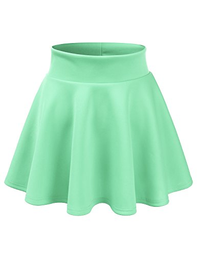CLOVERY Versatile Elastic Waist Flared Mini Skater Skirt (Plus size available) Cyan S (Flare Tweed Skirt)