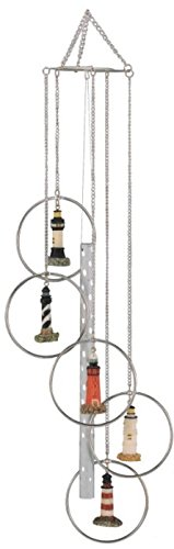 George S. Chen Imports Wind Chime 5 Ring Polyresin Charm Lighthouse Hanging Garden Decoration by George S. Chen Imports