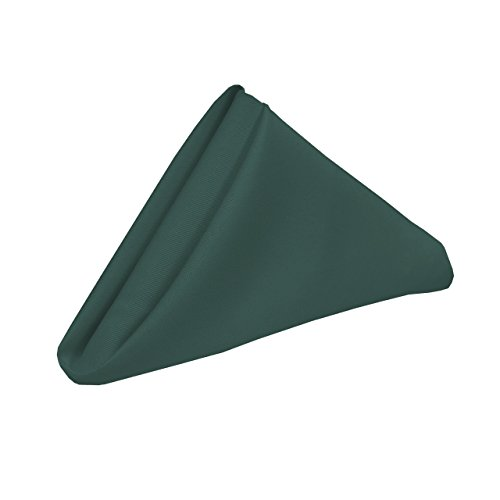 YCC Linen - 20 Inch Square Premium Polyester Cloth Napkins 10 Pack - Hunter Green, Oversized, Double Folded and Hemmed Table Napkins for Restaurant, Bistro, Wedding, Thanksgiving and Christmas