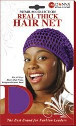 Net Thick Hair ((PACK OF 6) DONNA PREMIUM REAL THICK HAIR NET (BLACK))