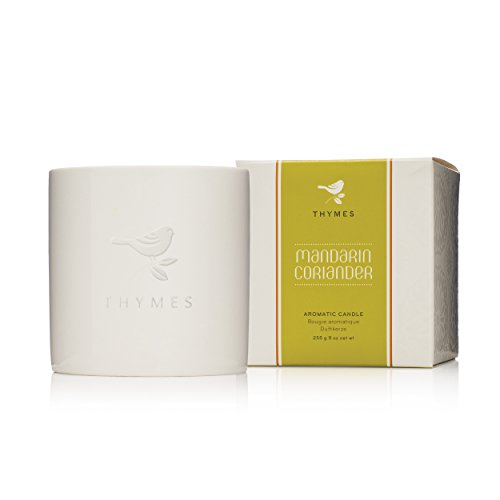 Thymes Mandarin Coriander Poured Candle Ceramic-Updated Design (Bird Changed from Orange Label to White Embossed)