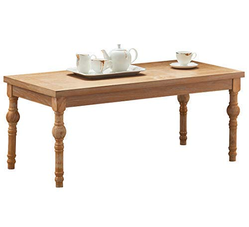O&K Furniture Rectangular Coffee Table, Farmhouse Wood Coffee Table with Turned Leg, Natural