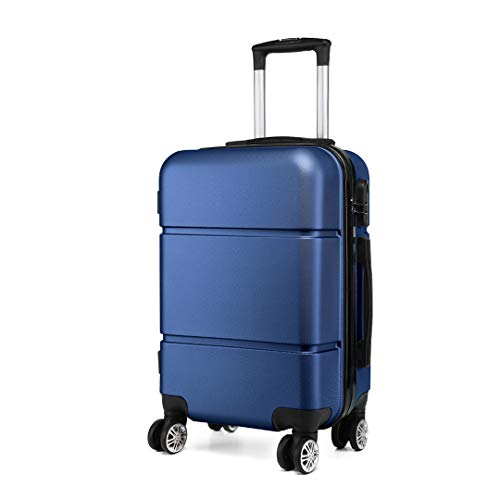 """Kono Suitcase 20"""" Travel Carry On Hand Cabin Luggage Hard Shell Travel Bag Lightweight, Navy"""