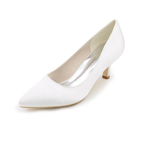 satén Y boda confort Mujer blanco tacones yc tacón White Noche Fiesta Stiletto L FxYvBTqw8B