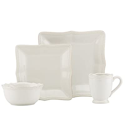 Lenox French Perle Bead Square 4 Piece Place Setting, White - Crafted of stoneware Microwave and dishwasher safe Includes square dinner plate, square accent plate, all purpose bowl, and mug - kitchen-tabletop, kitchen-dining-room, dinnerware-sets - 318VaXG jlL. SS400  -