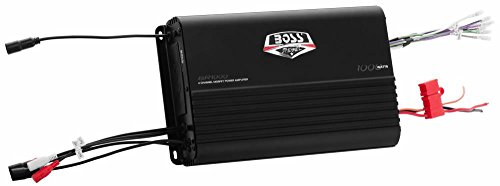 BOSS AUDIO BR1000 Marine Weather Proof 1000-Watt Full Range, Class A/B 2-8 Ohm Stable 4 Channel Amplifier with Remote Subwoofer Level Control