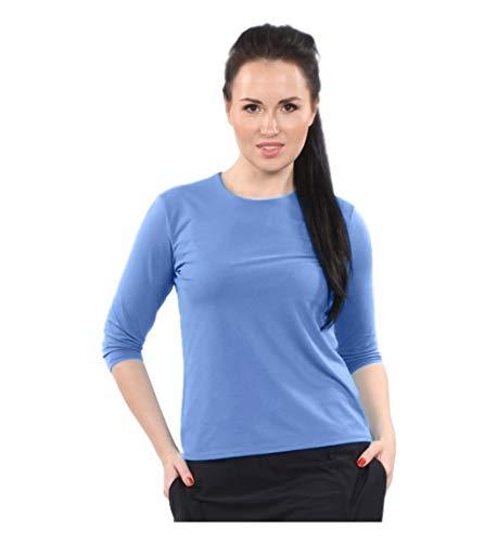 - Kosher Casual Women's Modest Swim & Running/Exercise 3/4 Sleeve Shirt Large Vista Blue