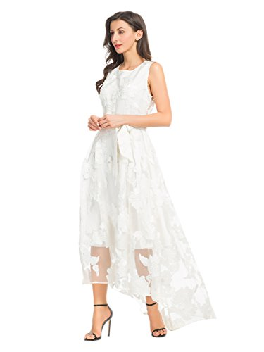 Choies Women's Lace Floral Print Gauze Panel Sleeveless High Low Party Maxi Dress (Large, White-Lace)