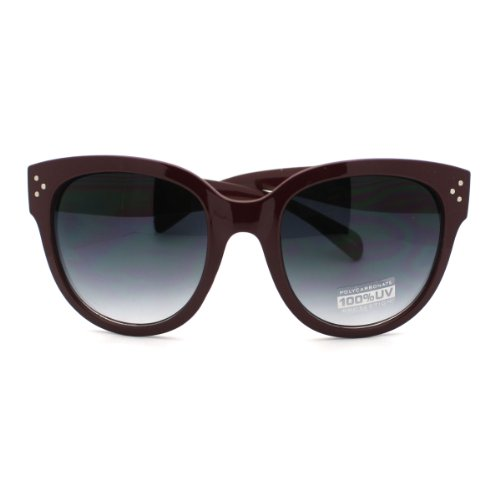 Burgundy Horn Rimmed Round Sunglasses with Signature 3 Metal Dot Front Side Trims