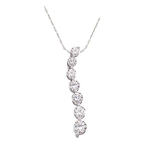 Dazzlingrock Collection 10kt White Gold Womens Round Pave-set Diamond Graduated Journey Pendant 1/4 Cttw ()