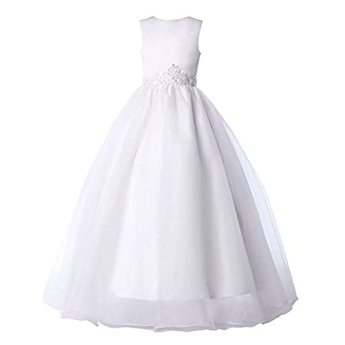 White Sleeveless Appliques Long Wedding Dress for Teens Size 2-3 Years CL4491-1