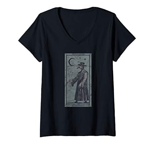 Womens Occult Plague Doctor Tarot Card Black Death Baphomet Devil V-Neck T-Shirt ()
