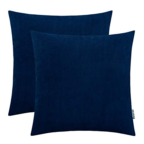 Navy Living Room - HWY 50 Velvet Soft Soild Decorative Throw Pillows Covers Set Cushion Cases for Couch Sofa Living Room 20 x 20 inch Navy Blue Pack of 2