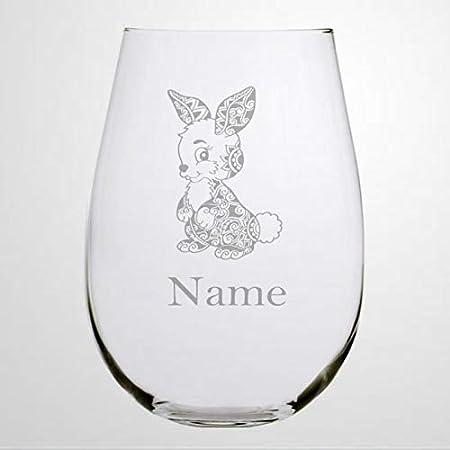 Copa de vino sin tallos de cristal de conejito con nombre, vaso de chupito de whisky grabado, perfecto para padre, madre, niño o novia, amiga