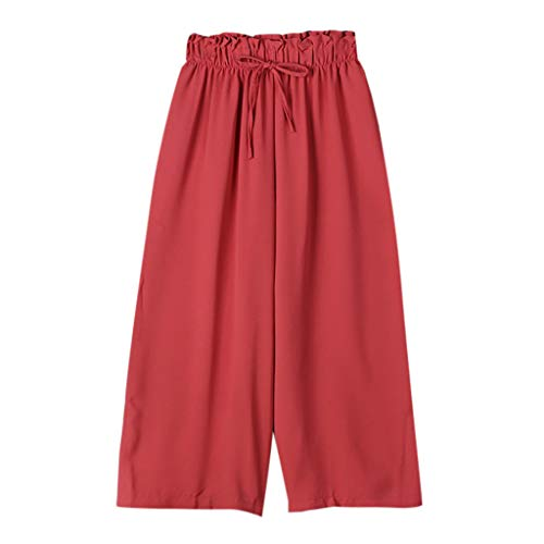 (JOFOW Wide Leg Pants for Women Solid Ruffle Loose Long Swing Comfy High Waist Strappy Tie Drawstring Casual Elegant Trousers (XL,Red))