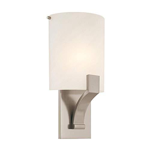 Sonneman 1851.13, Greco Glass Wall Sconce Lighting, 1 Light, 20 Total Watts, Satin Nickel ()