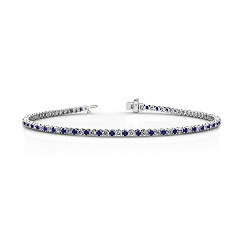 Blue Sapphire and Diamond 1.7mm (SI2-I1-Clarity, G-H-Color) Tennis Bracelet 1.35 cttw in 14K White Gold
