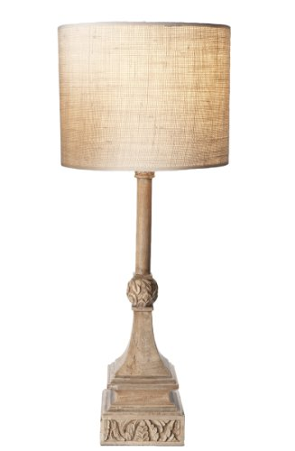 UPC 875823007365, Lazy Susan Carved Wood Buffet Lamp with Burlap Shade