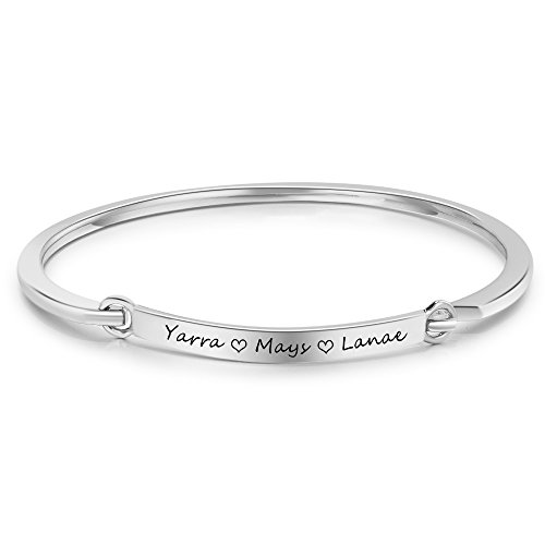 Molywoo Personalized Engraving Name Bar Bracelet for Mother Promise Bracelet for Girlfriend Custom Cuff Bracelet for Best Friends Anniversary Wedding Jewelry for Womens (Silver)