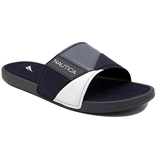 (Nautica Men's Athletic Slide, Strap Comfort Sandal-Gantry-Grey-13)