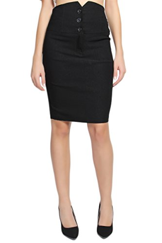 TheMogan Women's Buttoned High Waist Straight Pencil Skirt Black-1XL