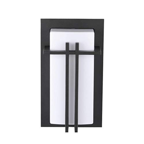 "LJ OutDoor Light Wall Sconce 4216 Aluminum Matt-black Paint Modern Design Outdoor 12"" Rectangular Wall Mount Pocket Lantern Yard Bathroom Kitchen Fixture Metal frame+Acrylic housing"