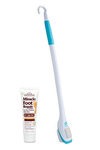 30'' Miracle Foot Brush with Pumice Stone and Hook (with 1 oz Miracle of Aloe Foot Repair) by New Product Solutions