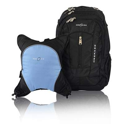 Bern Diaper Backpack, Shoulder Baby Bag, with Food Cooler, Clip to Stroller (Black/Cloud)
