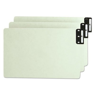 Smead 63276 Pressboard End Tab Guides, Vertical Metal Tabs, A-Z, Legal, Green, 25/Set ()