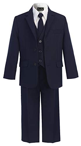OLIVIA KOO Boys Solid 5-Piece Formal Suit Set With Matching Neck Tie,Navy,7