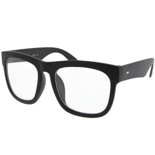 Black Large Square Clear Lens Glasses Thick Horn Rim