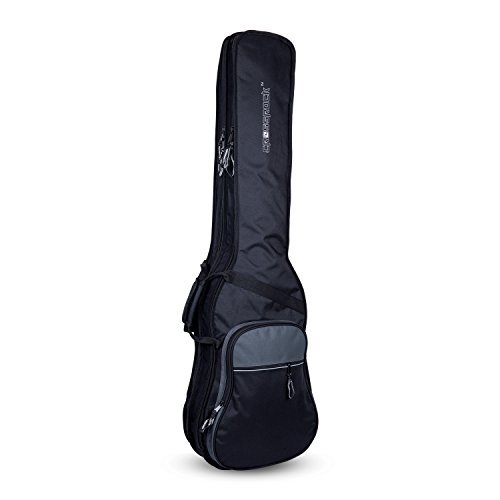 Double Cutaway Bass - Crossrock CRSG106DBBG Double 2x Bass Guitar Gig Bag -With Padded Adjustable backpack Straps, Black/Grey