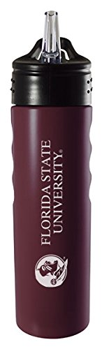 Florida State Seminoles Bottle - Florida State University-24oz. Stainless Steel Grip Water Bottle with Straw-Burgundy