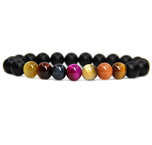 Bracelets Orange Genuine (Natural Matt Black Agate and Mixed Tiger Eye Gemstone 8mm Round Beads Stretch Bracelet 7