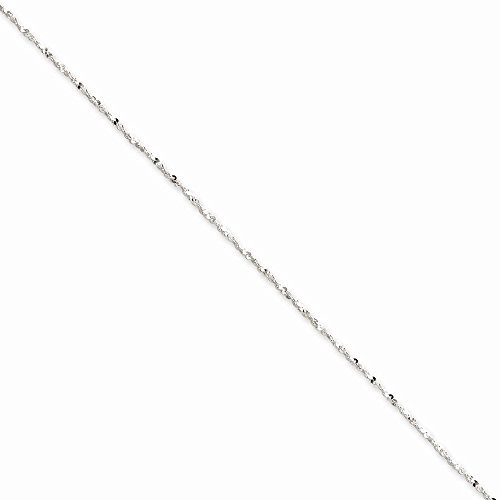 PriceRock Sterling Silver 1.2mm Twisted Serpentine Chain Necklace 18 Inches