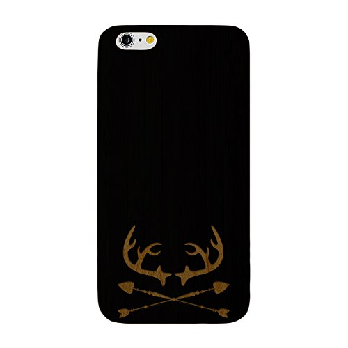 JewelryVolt Wooden Phone Case for iPhone 6 or iPhone 6s Black Wood Laser Engraved Deer Antlers Arrow Hunting
