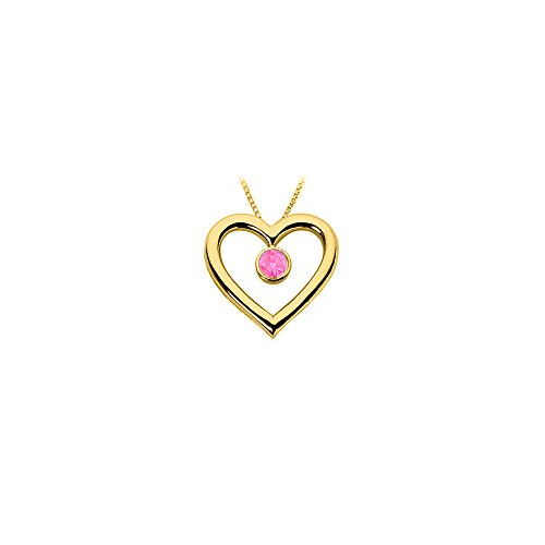 Pink Sapphire Vermeil Necklace (Created Pink Sapphire Heart Pendant 18K Yellow Gold Vermeil Sterling Silver 0.75 CT)