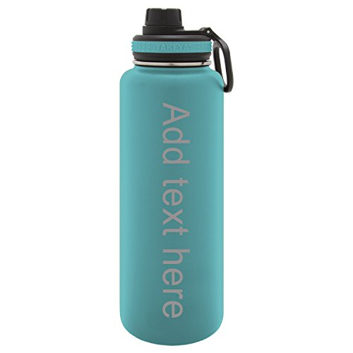 Cheap Army Force Gear Personalized Custom Takeya Laser Engraving Thermoflask Leak Proof Insulated Stainless Steel Workout Sports Water Bottle Tumbler, 40 Oz, Ocean Blue